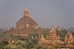 Buddhist temples and pagodas on the Bagan Plain of Myanmar.