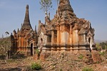 Ruins of ancient stupas, or Bagan + Shan style pagodas, near Indein village on Lake Inle in Shan state.