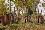 Ruins of ancient stupas, or Bagan + Shan style pagodas, near Indein village on Lake Inle, Shan state.