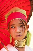 Young Padaung girl named Mimi near Indein village on Lake Inle in Shan state.