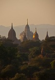 Temples on Bagan Plains in golden light.
