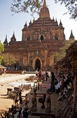 Tourist souvenir shops in courtyard of Sulamani Buddhist Temple in Bagan.