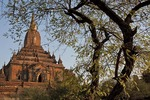 Buddhist pagoda on the Bagan Plain in Myanmar.