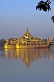 Karaweik Restaurant in replica of Royale Barge on Kandawgyi Lake in Yangon.