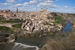 Toledo along bend in Tagus river, Spain.