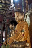 Buddha statues in Nga Phe Kyaung monastery on Lake Inle in Shan State, Myanmar.