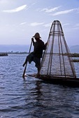 Lake Inle leg-rower with fishing net, Shan State, Myanmar