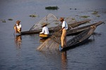 Leg-rower fishermen on Lake Inle, Shan State, Myanmar.