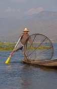 Leg-rower fisherman on Lake Inle, Shan State, Myanmar.