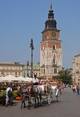Krakow's Main Market Square with horse-drawn carriage and Town Hall Tower.