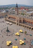 Krakow's Town Hall in Main Market Square (Rynek Glowny) from top of Church of St. Mary.