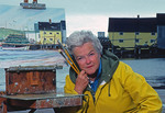 Local landscape artist Margaret Frizzell at North Rustico Harbour, Prince Edward Island, Canada, 1986.