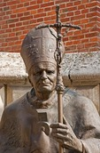 Statue of Pope John Paul II at Krakow Cathedral on Wawel Hill.