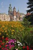 Garden at Krakow's Royal Wawel Castle with Wawel Cathedral in background.