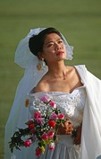 Chinese bride on grasslands of Siziwang Banner near Hohhot in Inner Mongolia.