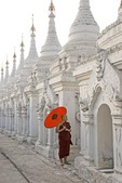 Buddhist monk at Kuthodaw Pagoda in Mandalay.