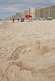 Sand castle on Orange Beach of Alabama Gulf Coast.