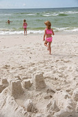 Sand castle on Orange Beach of Alabama Gulf Coast.