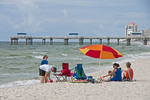 Alabama Gulf Coast's Orange Beach white sand and fishing pier.