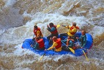 Wild and Scenic River whitewater rafting in Rio Grande gorge near Taos, New Mexico.