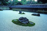 Ryoanji Zen Buddhist Temple rock garden in Kyoto.