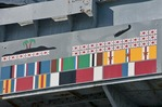 Battle ribbons and enemy kills on USS Alabama at Battleship Memorial Park in Mobile on Alabama Gulf Coast.