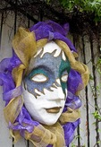 Mardi Gras mask at entrance of Mobile Carnival Museum.