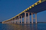 Biloxi Bay Bridge at night  looking toward Ocean Springs on Mississippi Sound of Gulf Coast.