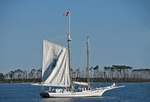 Biloxi Oyster Schooner sailing along Deer Island in Mississippi Sound of Gulf Coast.