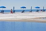 Beach on West Ship Island of Gulf Islands National Seashore in Gulf of Mexico.