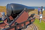 Cannon at historic Fort Massachusetts on West Ship Island of Gulf Islands National Seashore in Gulf of Mexico.