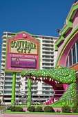 Alligator entrance and sign for Souvenir City T-shirt World at Biloxi Beach on Mississippi Sound of Gulf Coast.