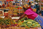 Marigot market on French West Indies island of Saint Martin in Caribbean.