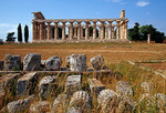 Greek Temple of Athena in ancient city of Paestum dates from 6th century B.C. named for virgin Goddess of Wisdom and War