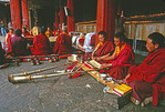 Jokhang Temple Tibetan Buddhist monks in study session, Lhasa, Tibet