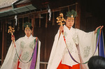 Fushimi-Inari Shinto Shrine maidans performing kagura dance in Kyoto