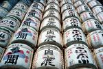 Saki casks (rice wine barrels) at Asakusa Temple in Tokyo.