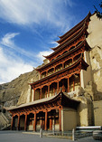Mogao Grottoes cave-temple complex on the Silk Road, Dunhuang, Gansu, China.