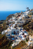 Town of Oia on north end of Greek island of Santorini.