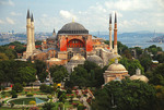 Aya Sofya (Hagia Sophia), Church of the Holy Wisdom, with Bosporus in Istanbul.