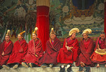 Yellow Hat sect (Geluk school) monks of Tibetan Buddhism at Labrang Monastery on The Silk Road at Xiahe, Gansu province, China.