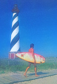 Soft focus rendition of Surfer at Cape Hatteras Lighthouse, Outer Banks, North Carolina.