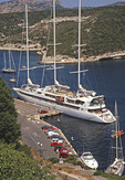 Small cruise ship Le Ponant doecked in Bonafacio, Corsica, harbor.