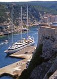 Small cruise ship Le Ponant docked in Bonafacio, Corsica, harbor.