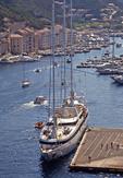 Small cruise ship Le Ponant docked in Bonafacio, Corsica, harbor.