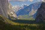 Yosemite National Park from Tunnel View overlook with Half Dome at center.