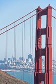 San Francisco skyline with Golden Gate Bridge.