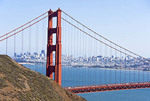 Golden Gate Bridge with San Francisco skyline.