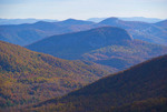 Blue Ridge Parkway view in autumn from Forestry Lookout, Pisgah National Forest, in southern Appalachians, North Carolina