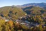 Gatlinburg, Tennessee, adjacent to Great Smoky Mountains National Park, in autumn.